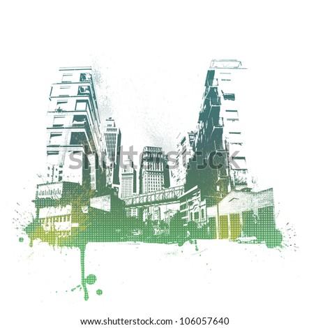 Colorful city background. Illustration background. - stock photo