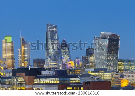 Colorful City of London skyline at dusk