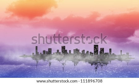 Colorful city skyline silhouette background