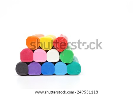 colorful clay for children on isolated background - stock photo