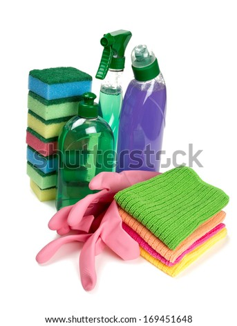 colorful cleaning set isolated on white
