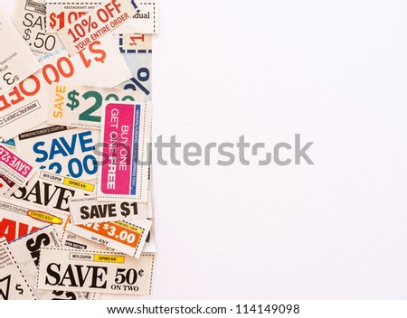 Colorful clipped multi valued grocery coupons with copyspace - stock photo