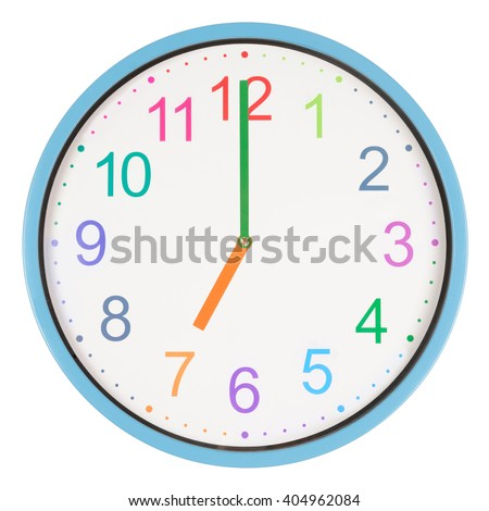 Colorful clock showing seven o'clock isolated on white background - stock photo