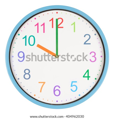 Colorful clock showing ten o'clock isolated on white background - stock photo