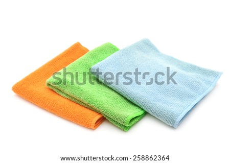 Colorful cloths microfiber isolated on a white background - stock photo