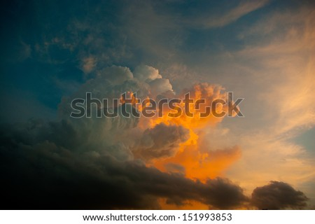 colorful cloud on sunset period