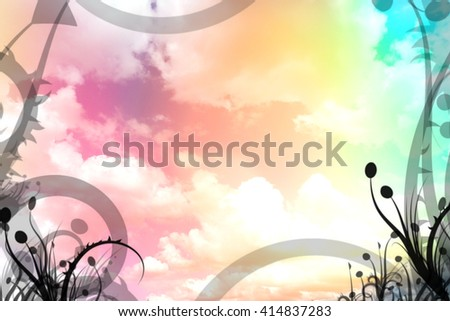 Colorful cloud pattern overlaid with leaf illustration
