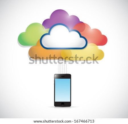 colorful clouds connected to a smartphone. illustration design over a white background