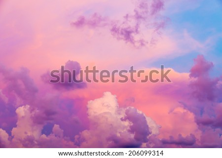 Colorful clouds on sunset sky, nature background - stock photo