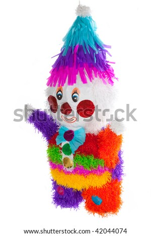 Colorful clown mexican pinata isolated in white background