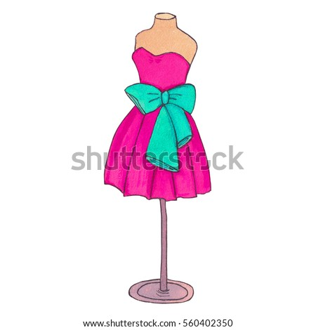 Colorful cocktail dress with a bow. Ball gown mannequin on white background. Watercolor fashion illustration for shop, atelier, sewing manufacture.
