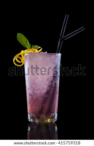 Colorful cocktail on black background