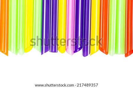colorful cocktail straws on white background