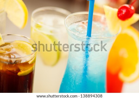 Colorful cocktails close up - stock photo