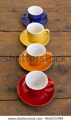 Colorful Coffee Cups on the Table