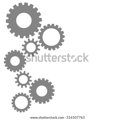 Colorful cog gear wheels background in grey