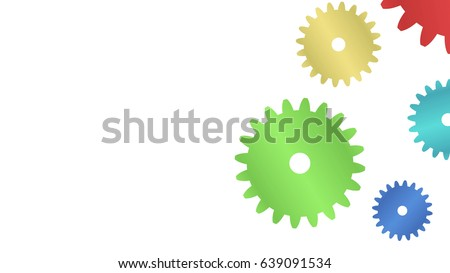 Colorful cogs. Concept of teamwork. Symbol of business cooperation.