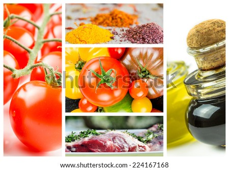 colorful collage and composition with mix cooking ingredients - stock photo