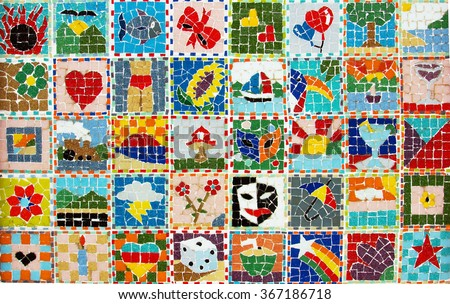 Colorful collage of bright mosaic summer pictures. - stock photo