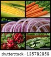 Colorful collage of fresh vegetables includes corn on the cob, carrots, red onions, radishes and spinach. - stock photo