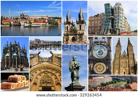 Colorful collage of most known landmarks of Prague, Czech Republic in Europe - stock photo