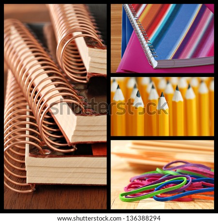 Colorful collage of school or office supplies - includes macro images of spiral bound notebooks, folders, pencils and rubber bands with shallow dof.