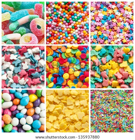 colorful collage of various candies and sweets - stock photo
