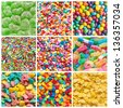 colorful collage of various candies and sweets as background - stock photo