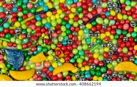colorful collage of various candies and sweets view from above