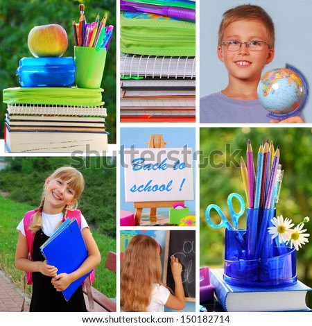 colorful collage with back to school concept