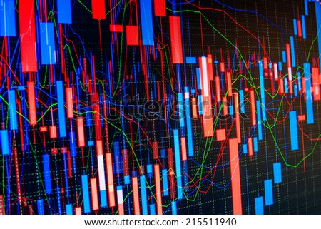 Colorful collage with financial and business charts and graphs. Finance background with market data. Company share price information. Stock price action on professional trader monitor screen - stock photo