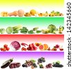 Colorful collage with vegetables and fruits - stock photo