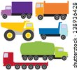 Colorful collection of different trucks. Raster version. - stock vector