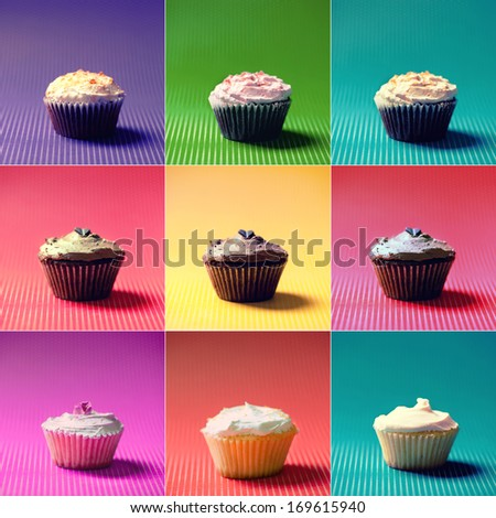 Colorful Collection or collage of holiday muffins and cupcakes. Vanilla, chocolate and fruits flavors and different fillings and toppings - stock photo