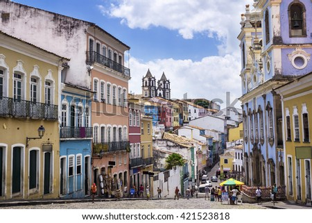 Colorful colonial houses at the historic district of Pelourinho in Salvador, Bahia, Brazil.  - stock photo