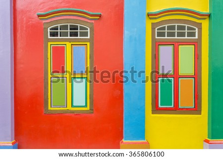 Colorful colonial old building facade shop house on Little India, Singapore - stock photo