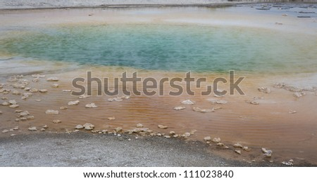 Colorful composition of hot springs in Yellowstone National Park, Montana, Wyoming, USA - stock photo