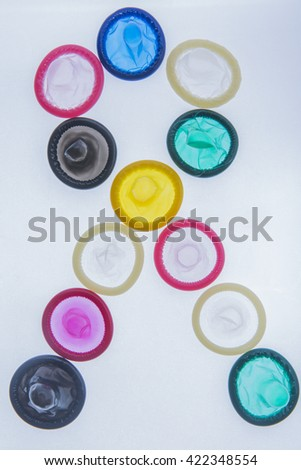 colorful condoms - stock photo