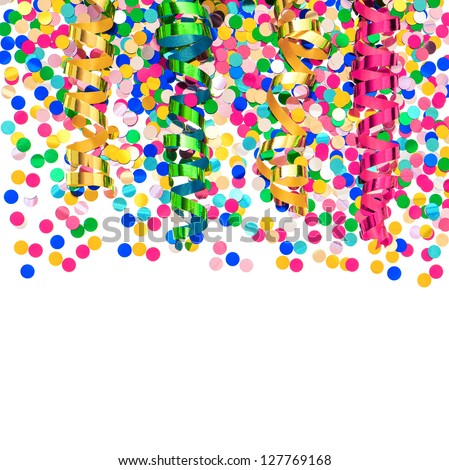 colorful confetti and shiny streamer. party decoration over white background - stock photo