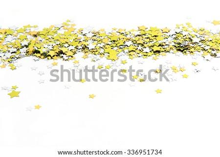 colorful confetti background. gold,  yellow - stock photo