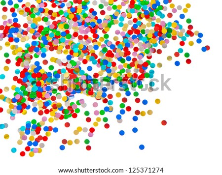 colorful confetti background. red, blue, green, yellow on white. carnival decoration - stock photo