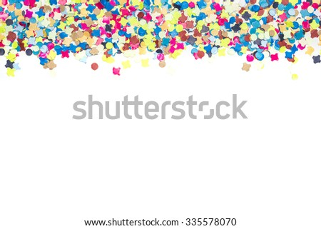 colorful confetti forming a bordure on one upper margin of card for party invitation