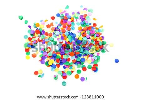 colorful confetti over white background - stock photo