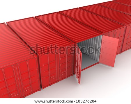 Colorful containers.Isolated on white.3d rendered. - stock photo