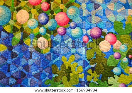 colorful contemporary quilt design - stock photo
