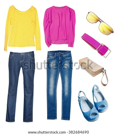 Colorful contrasted spring clothes isolated on white. Jeans blouse accessories collage set.Modern fashion youth wear collection. - stock photo