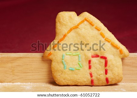 Colorful cookie house with colorful crumble as outlines - stock photo