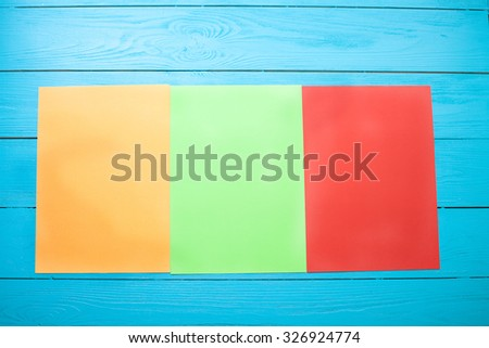 Colorful copy space on wooden background. Top view