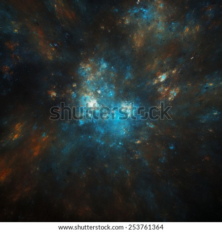 colorful cosmic nebula illustration - stock photo