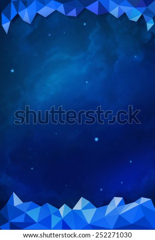 Colorful Cosmos - Blue - with Header and Footer - stock photo